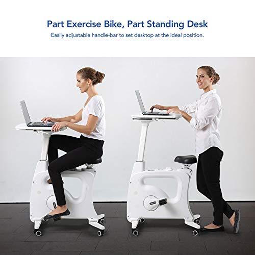 FLEXISPOT Home Workstation Desk Bike Stand up Folding Exercise Desk Cycle Height Adjustable Office Desk Stationary Exercise Bike - Deskcise Pro (With Desktop, White)