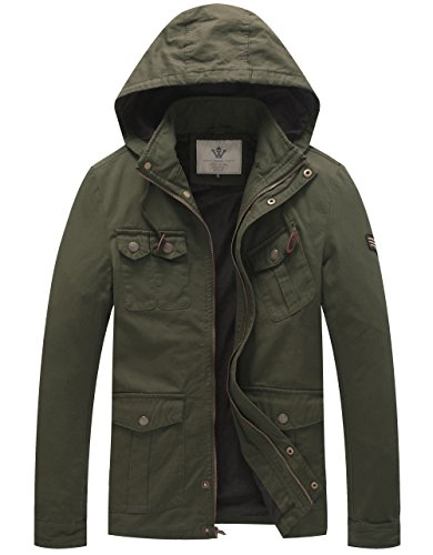 WenVen Men's Cotton Military Canvas Hooded Jackets (Army Green,M)