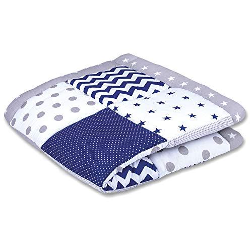 Couverture bébé patchwork 100x100 tapis de jeu bébé - couverture patchwork comme insert parc, grand Öko-Tex Standard 100 gris rembourré (GRIS - BLEU, 100 X 100 CM)