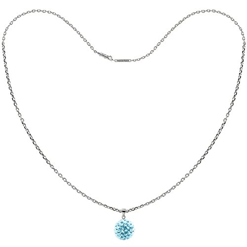 Tresor Paris Allure Light Blue 14mm Crystal Pendant & Silver Necklace 020952