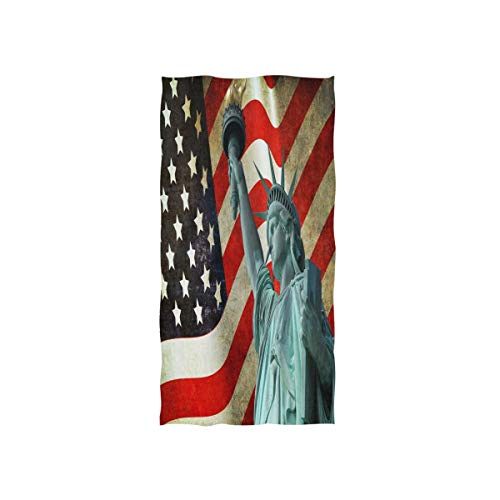 MNSRUU Handtuch, amerikanische Flagge, Freiheitsstatue, Wahrzeichen, weich, für Bad, Hotel, Spa, Fitnessstudio, Sport, 76 x 38 cm