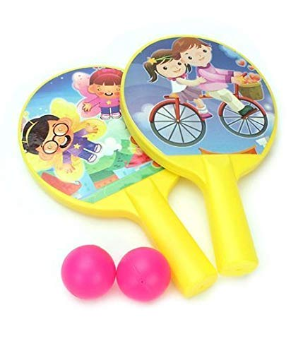 PULSBERY Set of 2 Indoor Outdoor Table Tennis Rackets 2 Foam Balls Sports Game Tennis Set Toys for Kids (Multi Color)