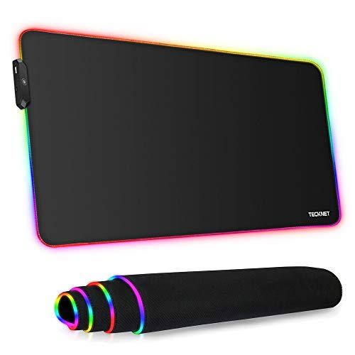TECKNET Alfombrilla de Ratón Gaming RGB 800 * 400 * 4mm, Base de Goma Antideslizante, Superfície Suave Resistente al Agua para Gamers, PC y Portátil