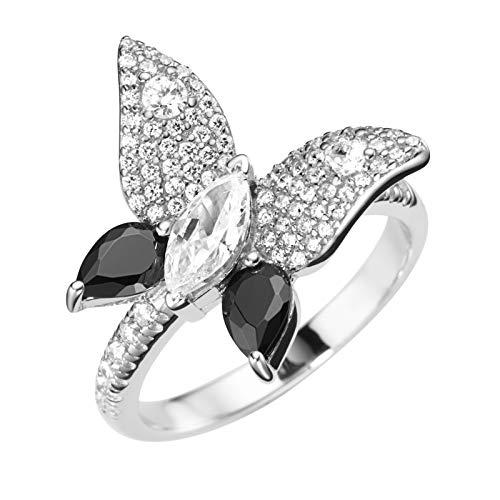 Giorgio Martello Milano Ring In Schmetterlingsform, Silber 925 Schwarz | Weiss, 56 925 Sterling Silber