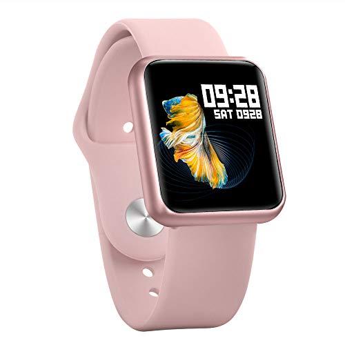 TWW Sportuhr, High-List-Point-Touchscreen-Uhr Sportschrittzähler Unterstützt Mehrere Sportmodi Musikmodusuhr,Rosa