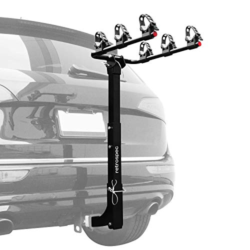 """Retrospec Lenox Car Rack Three Bike Mount Hitch - 3 Bicycle Carrier - Class III or IV 2"""" Hitch - Compact Foldable Steel Frame"""