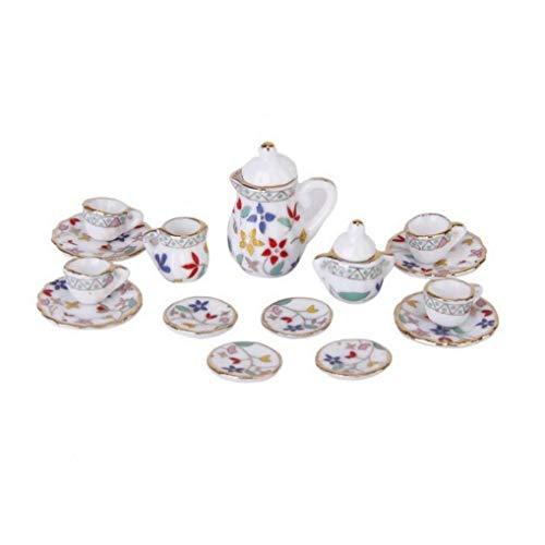KHHGTYFYTFTY 15pcs 1/12 Casa de muñecas en Miniatura del Juego de té de Porcelana Taza de té de muñecas Muebles de la casa de cerámica Pared Polvo