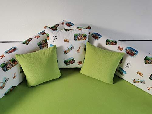 Kuschelecke Viertelkreis Zootiere grün 140cmx140cm inkl.Kissen, Made in Germany!