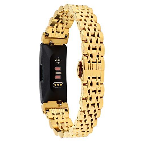 Tencloud Armbänder Kompatibel mit Fitbit Inspire 2 Armband, Metall Edelstahl Verstellbarer Ersatz Business Armband Armbanduhr Zubehör Nur für Inspire 2 Fitness Tracker (Gold)