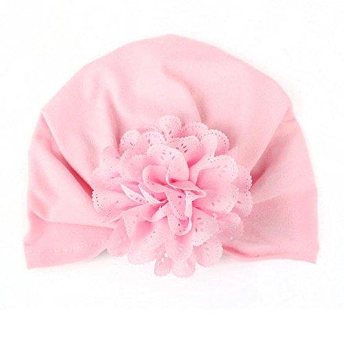 Zhuotop - Gorro elástico de tipo turbante para bebés y niños pequeños, con flor rosa rosa Talla:talla única