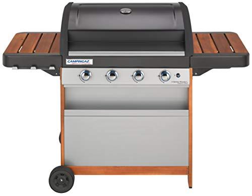 Campingaz 4 Series Woody L Barbecue Grill con 4 Bruciatore, 12.8 kW di Potenza, Sistema di Pulizia Facile InstaClean, Griglia e Piastra in Acciaio, Grigio