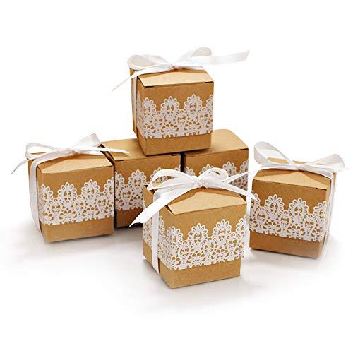 Kitchen-dream papel kraft caja de regalo, Cajas de regalo de caramelo vintage de encaje de 80 piezas, cajas elegantes...