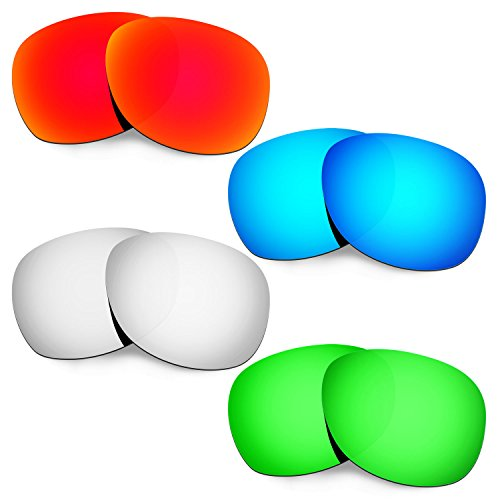 Hkuco Mens Replacement Lenses For Ray-Ban Wayfarer RB2132 55mm Red/Blue/Titanium/Emerald Green Sunglasses