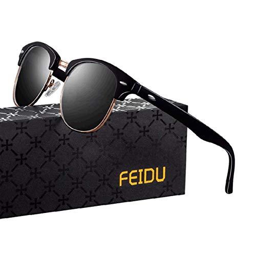 FEIDU Halbrahmen Polarisierte Klassische Metall Sonnenbrillen Herren-Retro Polarisierte Sonnenbrille Damen FD 3031 (Bright-schwarz, 2.04)