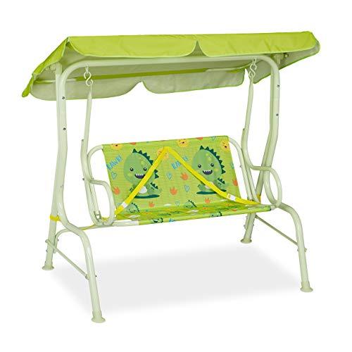 Relaxdays Dondolo per Bambini, con Dinosauri, Panchina-Altalena con Parasole e Cintura di Sicurezza, a 2 Posti, Verde