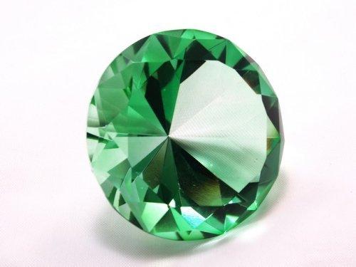 Emerald Crystal Diamond Jewel Paperweight 80mm