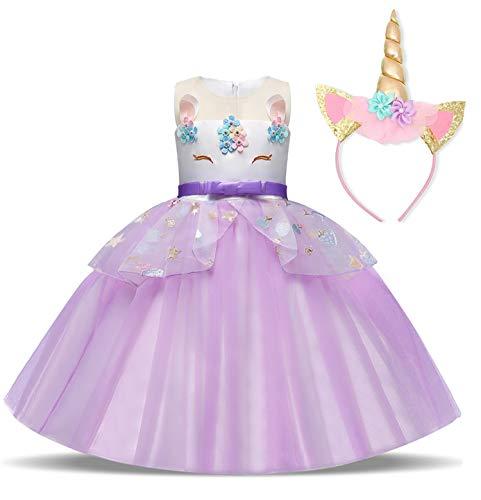 TTYAOVO Mädchen Einhorn Phantasie Prinzessin Kleid Kinder Blume Pageant Party Kleid Ärmellose Rüschen Kleider,Regenbogen-lila,5-6 Jahre (Etikette 130)
