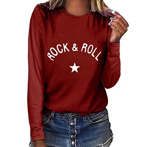 DAY8 Rock Roll T-Shirt Camicia Donna Elegante Magliette Ragazza Tumblr Camicetta Manica Lunga Tunica Donna Invernale Taglie Forti Maniche Lunghe Leggera Pullover Moda Casual Donna (Bordeaux, XXXL)