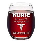 Stemless Wine Glass, Nurse Wine Glass for Nurses, Graducation, Women, Men, Nurse Students, Coworker, Nursing School