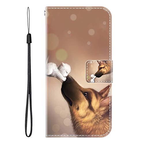vingarshern Hülle für Meizu M15 Handytasche Klappbares Magnetverschluss Lederhülle Flip Etui Standfunktion Schutzhülle Meizu M15 Hülle Leder Brieftasche(Wolf küssen) MEHRWEG
