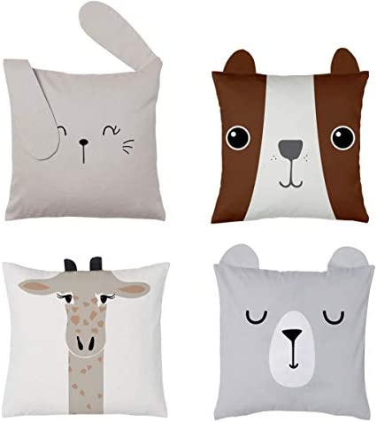 RainMeadow Kids Throw Pillow Cover Set of 4 16 x16 Cute Cotton Cushion Covers for Girls and product image