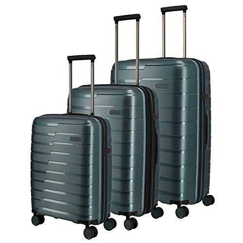 Travelite Air Base 3er Kofferset inkl. kleine Kulturtasche Hartschalen Reisekoffer 4 Doppelrollen Trolley (Größen S,M und L) (Eisblau)