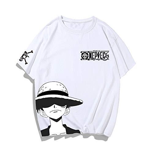 One Piece Cartoon Printed Short-Sleeved T-Shirt Men Luffy Loose Cotton Men