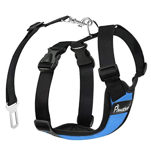 Pawaboo Cinturón de Arnés de Chaleco de Seguridad para Perros, Mascotas Arnés de Coche de Malla con Correa Ajustable para el Conductor, Talla L - Azul