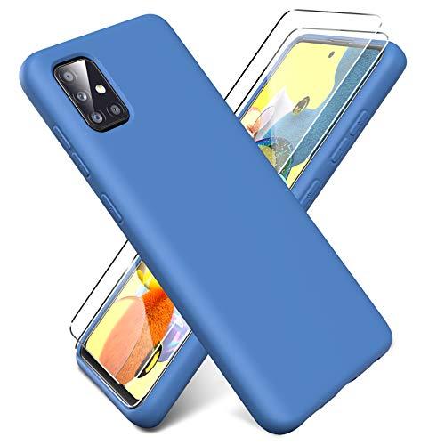 Oududianzi - Funda para Samsung Galaxy A51 5G + [2 Pack] Protector Pantalla, Carcasa de Silicona Líquida Gel Ultra Suave Funda con tapete de Microfibra Anti-Rasguño - Azul