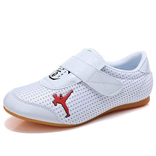 Meng Zapatillas Taekwondo Boxing Karate Zapatillas Entrenamiento Taichi Kong Fu Shoes Kung Fu Taichi Taekwondo Boxing Karate (Color : White, Size : 27)