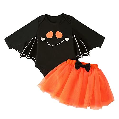 Ropa para niñas pequeñas, calabaza/sonriente murciélago mangas mameluco+falda tutú con lazo, 2 piezas para bebés y niñas de Halloween, Cara sonriente, 18 meses