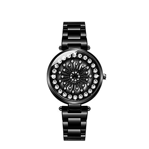 BBZZ El Reloj de Cuarzo gypsophila clásico analógico de Damas con Correa de Acero Inoxidable, Incrustaciones de Diamantes refleja el Temperamento Noble,Negro