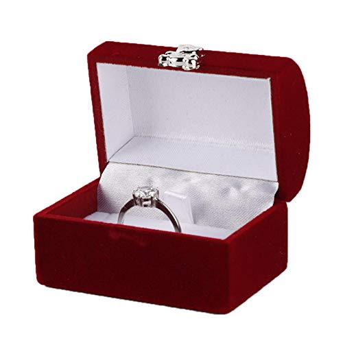 Caja de anillo de franela de gamuza suave, para guardar anillos, pendientes, pendientes(Jewelry Box Style-Bright Red)