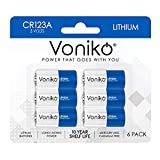VONIKO CR123A Lithium Batteries (6-Pack) – Photo Lithium Battery –3 Volt 123 Battery Lithium 10 Years Shelf Life – UL&RoHS Certified for Security and Medical Equipment