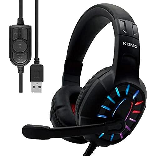 Fone Gamer Headset USB com Microfone 7.1 Virtual LED Iluminação RGB KOMC G313 Computador Notebook
