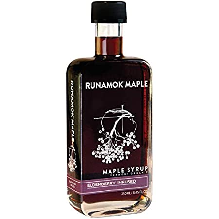 Runamok Maple Elderberry Infused Maple Syrup - Authentic & Real Vermont Maple Syrup | Gluten Free & Natural Sweetener | Great for Cocktails, Cheese Pairing & Vinaigrettes | 8.45 Fl Oz (250mL)
