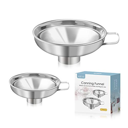 AIEVE Canning Funnel, 2 Pack Stainless Steel Canning Supplies Kitchen Funnel Mason Jar Funnel Canning Funnel for Wide and Regular Jars Canning Jars Canning Jar Funnel Transfer Dry and Wet Ingredients