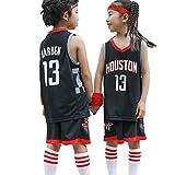 Completo da baseball per bambini James Harden # 13 Houston Rockets, divisa da basket estiva per ragazzi e ragazze Set completo da salotto-black-L