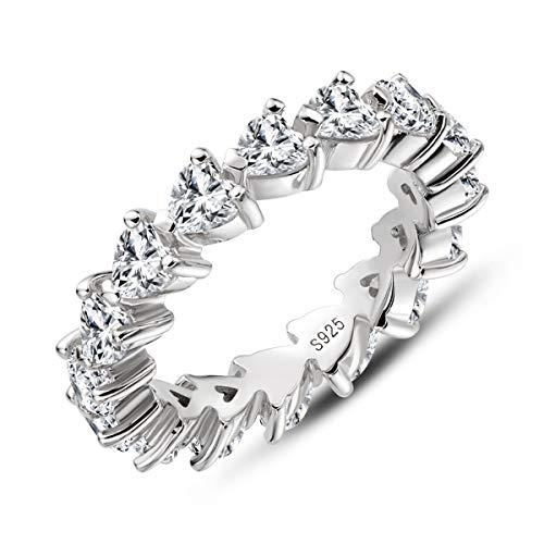 AINUOSHI Erllo 925 Sterling Silver Zirconia Heart Shaped Eternity Band Engagement Wedding Ring (7.5)