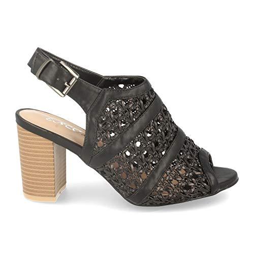 shoes&blues.es 47035-Damalsandale im romantischen Stil mit hohem Absatz, offenem Absatz, Durchbrochenen Zopfen am Spann und Riemen mit Schnalle. Size 38 Negro