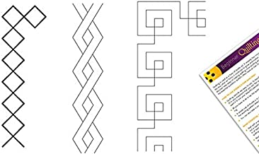 Quilting Creations Stencils for Machine and Hand Quilting | Set of 3 Quilt Plastic Stencils for Borders and Patterns | Various Border Designs, with Quilter's Guide