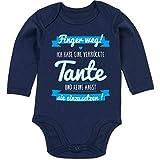 Shirtracer Sprüche Baby - Ich Habe eine verrückte Tante Blau - 3/6 Monate - Navy Blau - sprüche Baby Langarmbody Tante - BZ30 - Baby Body Langarm