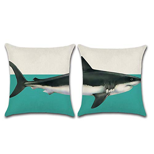 Asamour Decorative Set of 2 Throw Pillow Covers Creative Shark Pattern Cotton Linen Ocean Marine Life Home Decor Throw Pillow Case Cushion Cover 18 x 18 Inches for Sofa Couch Decor (2 Pack Shark)