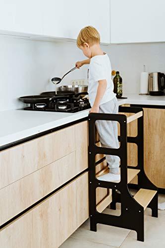 Duck WoodWorks Torre de cocina para niños - Taburete moderno de aprendizaje para niños y niños para uso en cocina y baño - Torre Montessori de madera (negro)