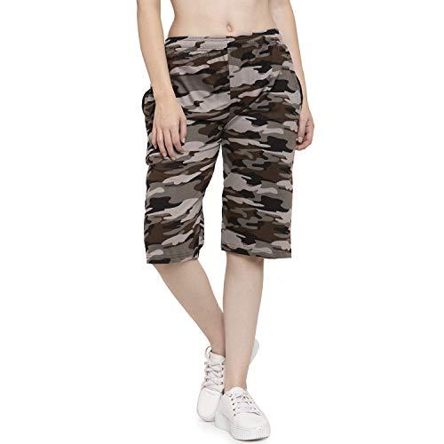 UZARUS Women's Girls Cotton Three Fourth Capri Shorts with Two...