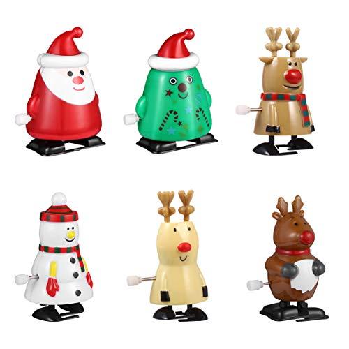 TOYANDONA 6Pcs Weihnachten Wind Up Spielzeug Weihnachten Neuheit Springen Spielzeug  Santa Schneemann Weihnachts Baum 3 Deer  Weihnachten Kleine Geschenke für Kinder Party Favors& Goodie