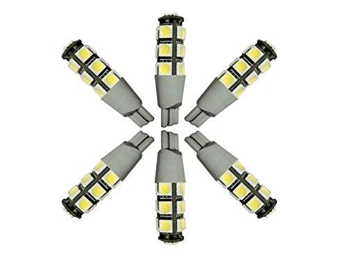 Njytouch 6 pcs Blanc froid 13smd 5050 T10 194 W5 W 192 168 LED WEDGE ampoules de voiture Tail Light DC 12 V