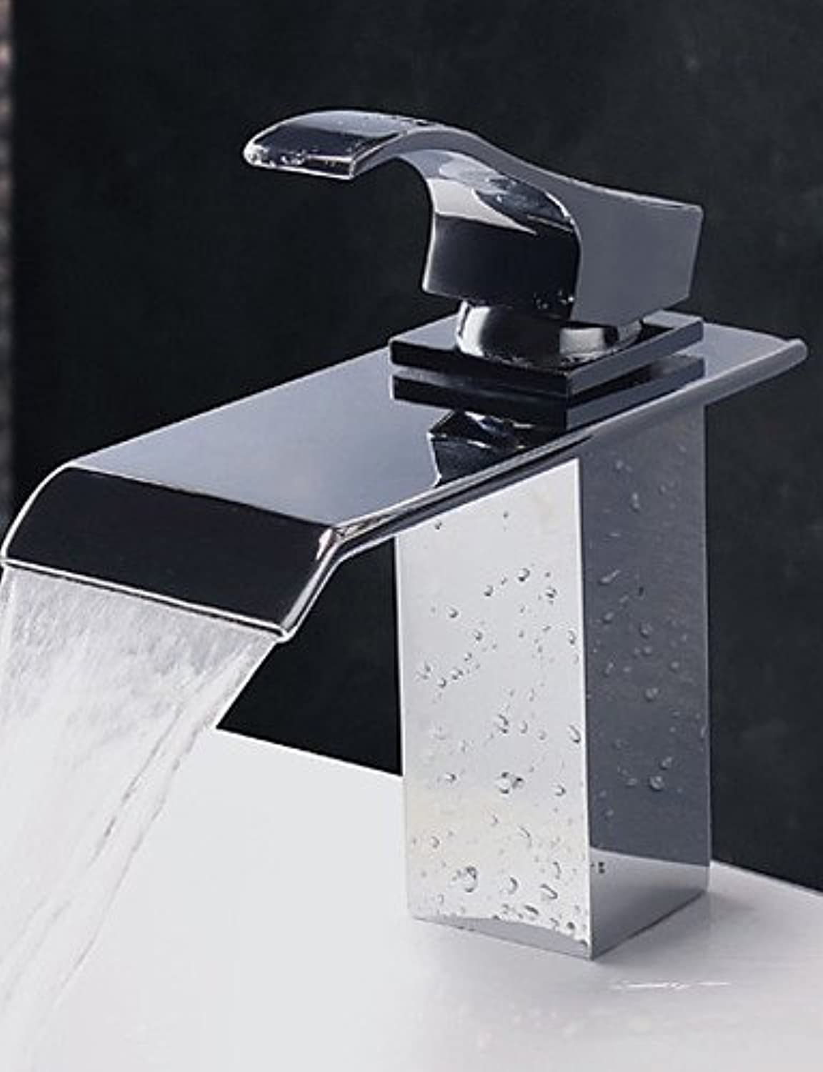 HJKDGH Faucet Contemporary Water Fall Stainless Steel Chrome Finish Bathroom Sink Faucet