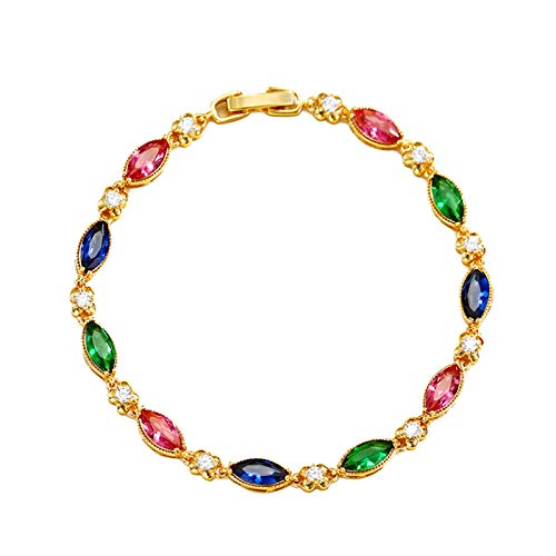 STKJ Pulsera para Mujer, Ruby Fashion Chapado En Oro De 24 K Joyas para Mujer Regalos Piedras Preciosas Pulseras De Eslabones De Varias Piedras,Color