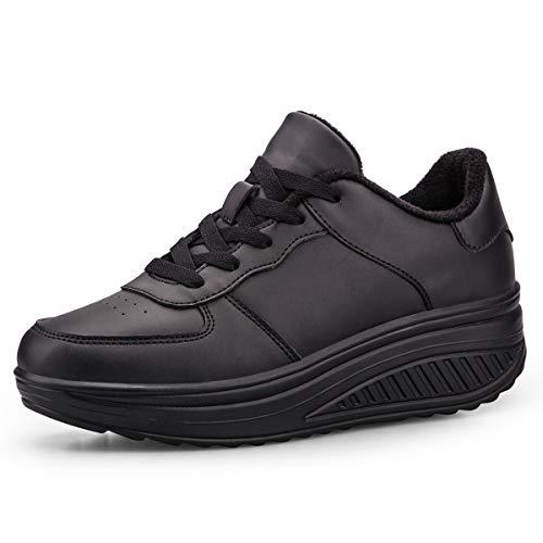 QZBAOSHU Damen Abnehmen Walkingschuhe Turnschuhe Fitness Keile Plattform Schuhe Sneakers(37 EU,Vollschwarz
